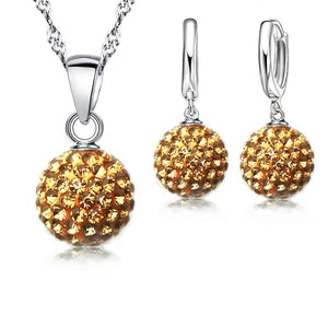 Sterling Silver Austrian Crystal Pave Disco Ball Lever Back Earring Pendant Necklace - asheers4u