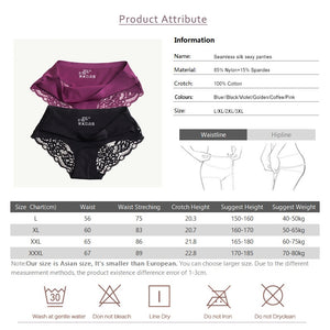Sexy Seamless Women Silk Lace Panties - asheers4u