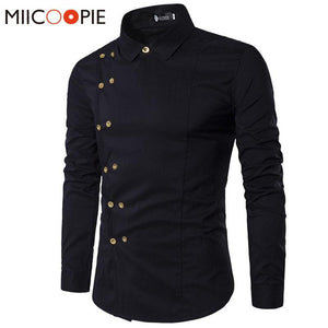 Chinese Button Double Breasted Long Sleeve Slim Fit Shirt - asheers4u