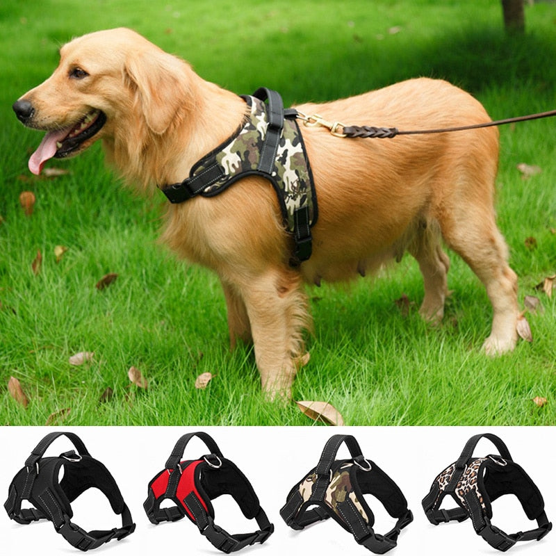Nylon Heavy Duty Dog Pet Harness Collar Adjustable Padded Extra Big Strap Belt - asheers4u
