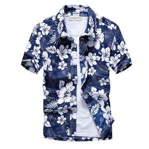 Hawaiian Beach Palm Tree Print Tropical Aloha Shirts - asheers4u