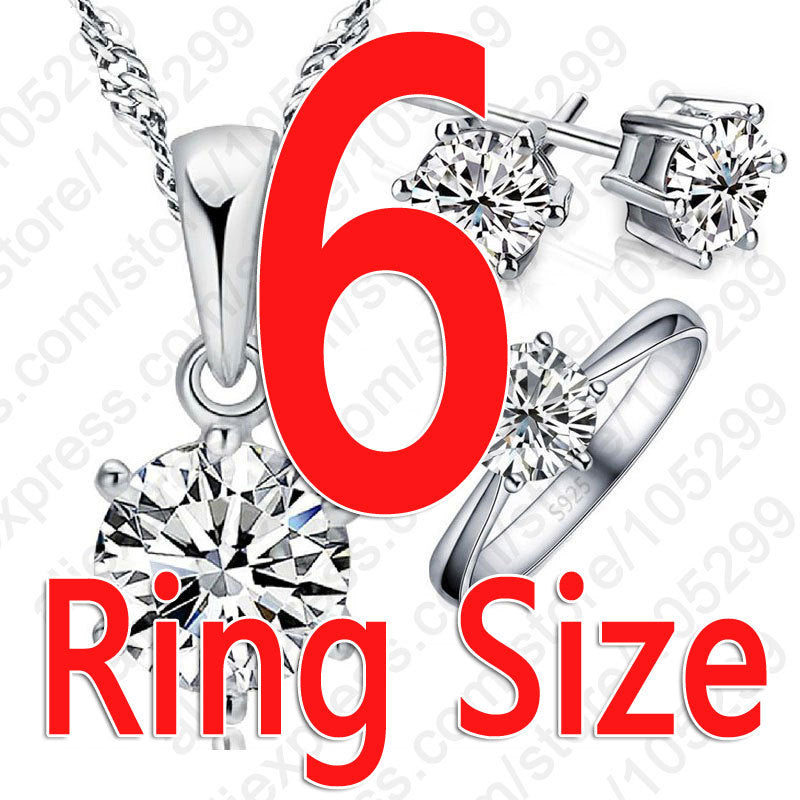 Sterling Silver Bridal Jewelry Gift Sets with Necklace Finger Rings Stud Earrings - asheers4u