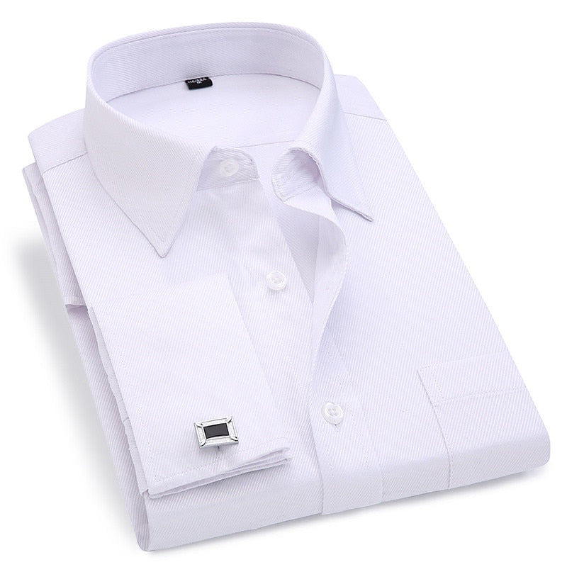 Men Slim Fit French Cuff Shirts - asheers4u