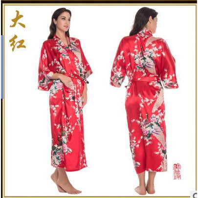 Sleepwear Silk Pijama Long women Nightgown - asheers4u