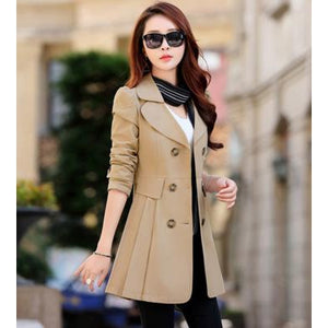 Slim Double Breasted Women's Trench Coat for Office - asheers4u