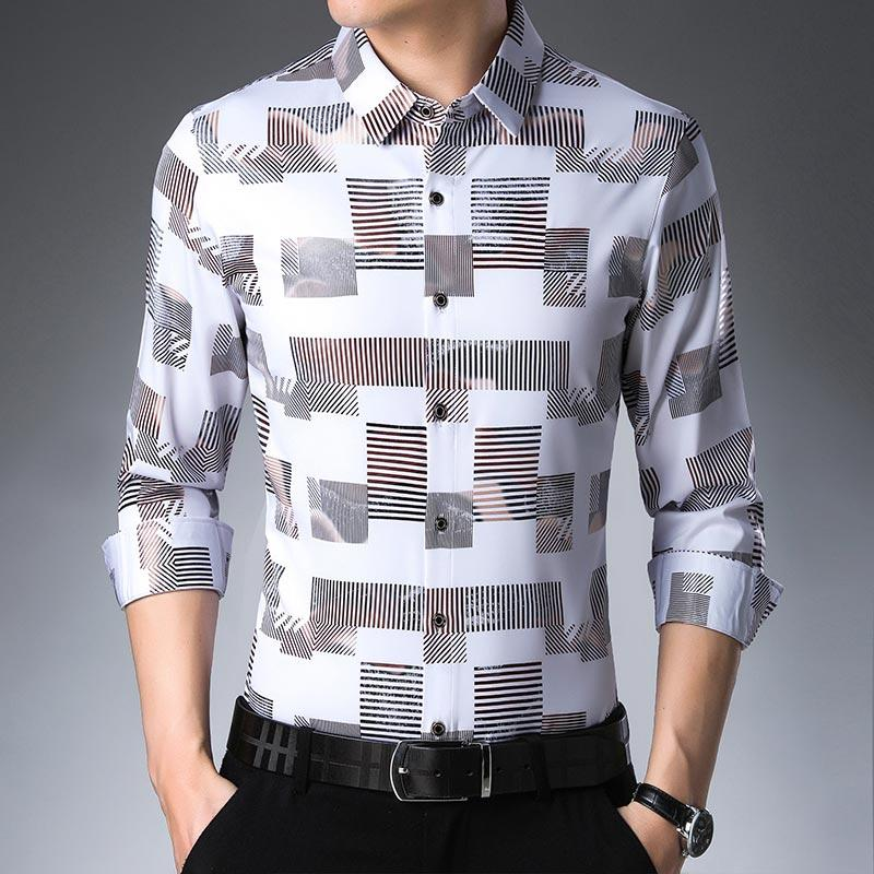 Long sleeve slim fit men's shirt - asheers4u