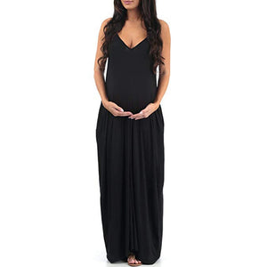 Women's Maternity Pregnanty V-Neck Sleeveless Summer Solid Long Dress - asheers4u