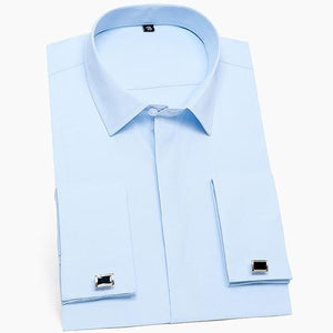 Formal Business Standard-fit Long Sleeve Shirts (Cufflink Included) - asheers4u