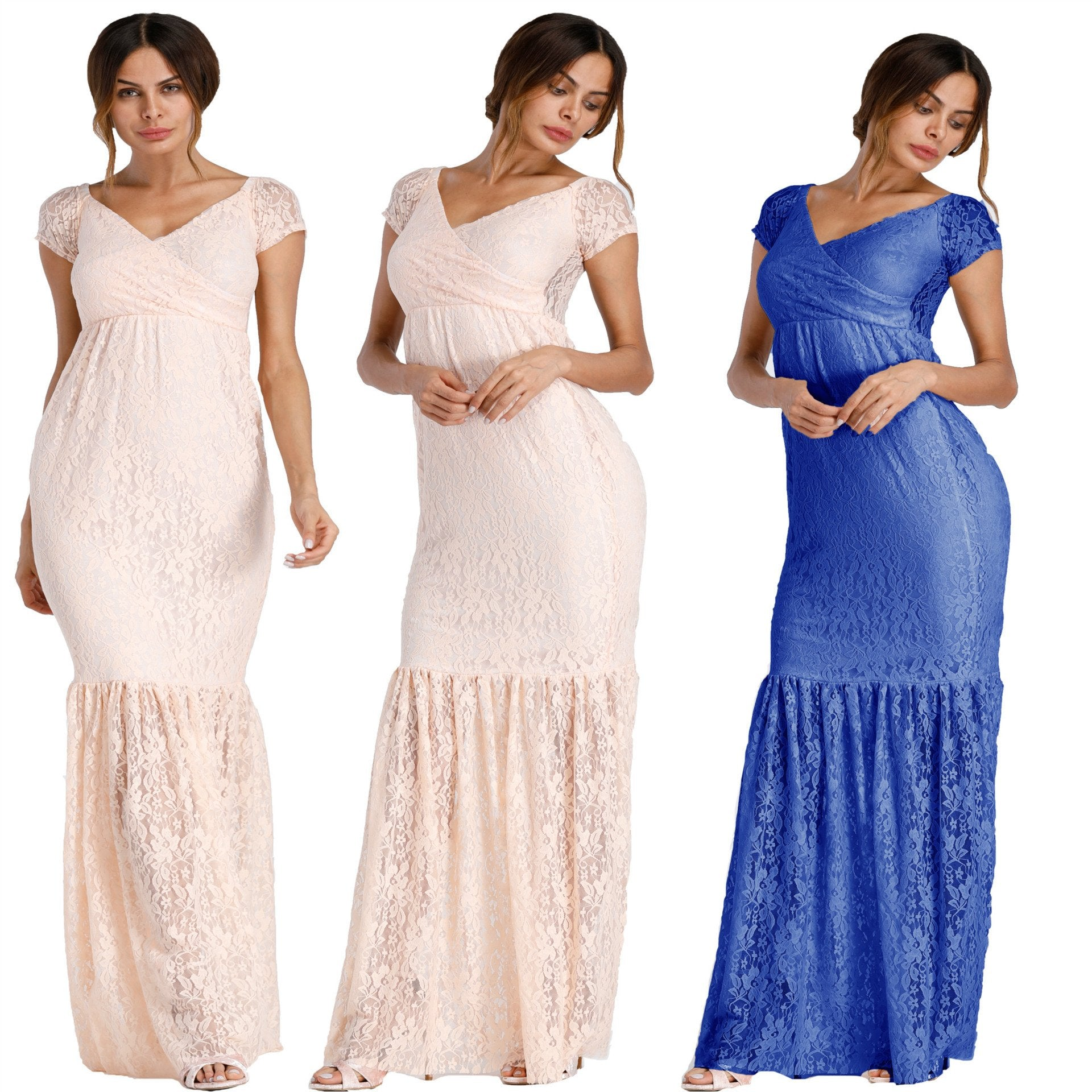Maternity Gown Lace Maxi Maternity Dresses for Photo Shoot - asheers4u