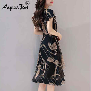 O-Neck Ruffles Sleeve Floral Dress for Office Women - asheers4u