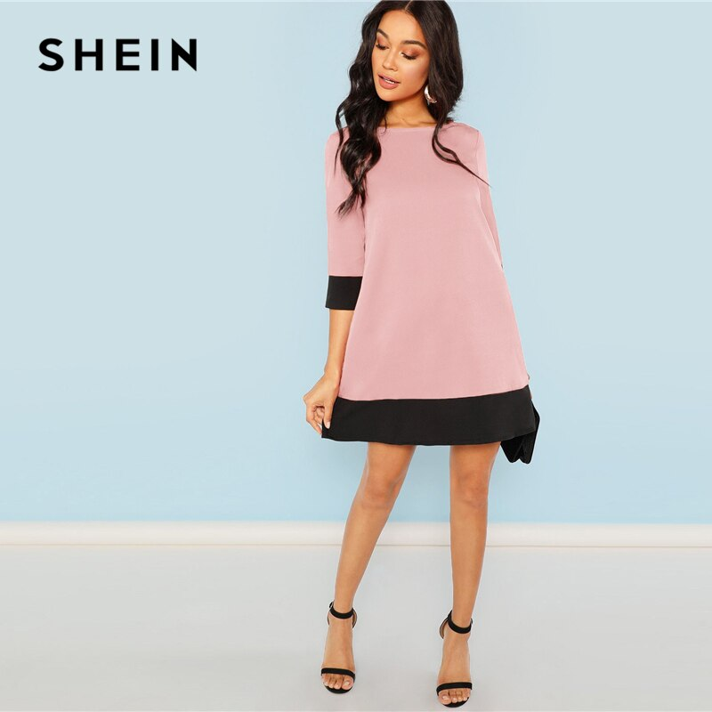 Pink Office Lady O-Neck Work wear Elegant Women Dress - asheers4u