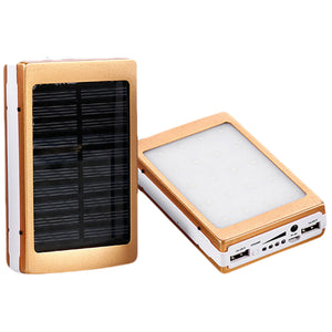 Portable Solar Power Bank Dual USB Phone Charger With Flashlight - asheers4u