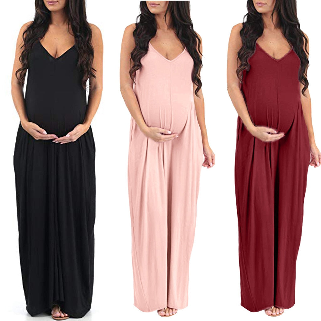 Maternity Dresses Summer Women Pregnant pregnancy clothes plus size Cotton V-Neck Sleeveless Summer Solid Long Nursing Dress