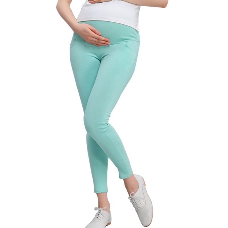 Maternity Leggings Pregnant Solid Cotton Pants Clothes Women High Waist Adjustable Belt Modal Pregnancy Trousers Spring&autumn