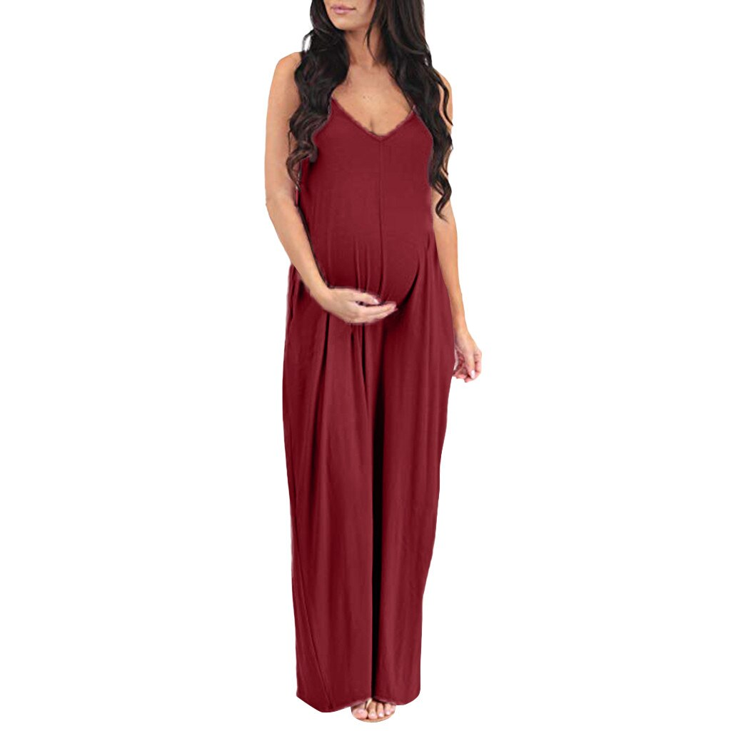 Maternity Fashion Pregnant Sleeveless Strap Backless Long Pregnancy Clothes - asheers4u