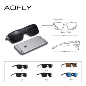AOFLY DESIGN Ultralight TR90 Polarized Sunglasses Men Driver Shades Male Vintage Sun Glasses For Men Spuare Eyewear Gafas De Sol