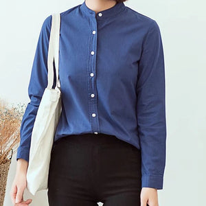 Long Sleeve White Blue Womens Oxford Shirts Plus Size 2019 - asheers4u