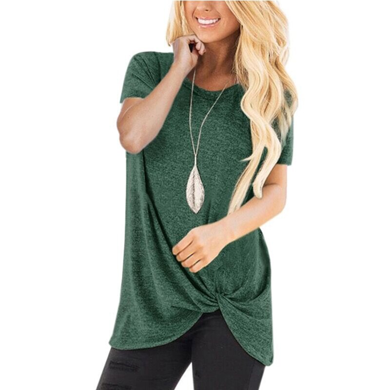 New Basic Tops with Knotted T Shirts for Female Plus size - asheers4u