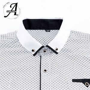 Printed Plaid Polka Dot Men Shirt Long-Sleeved Casual Shirts For Men Slim Fit 21 Colors - asheers4u