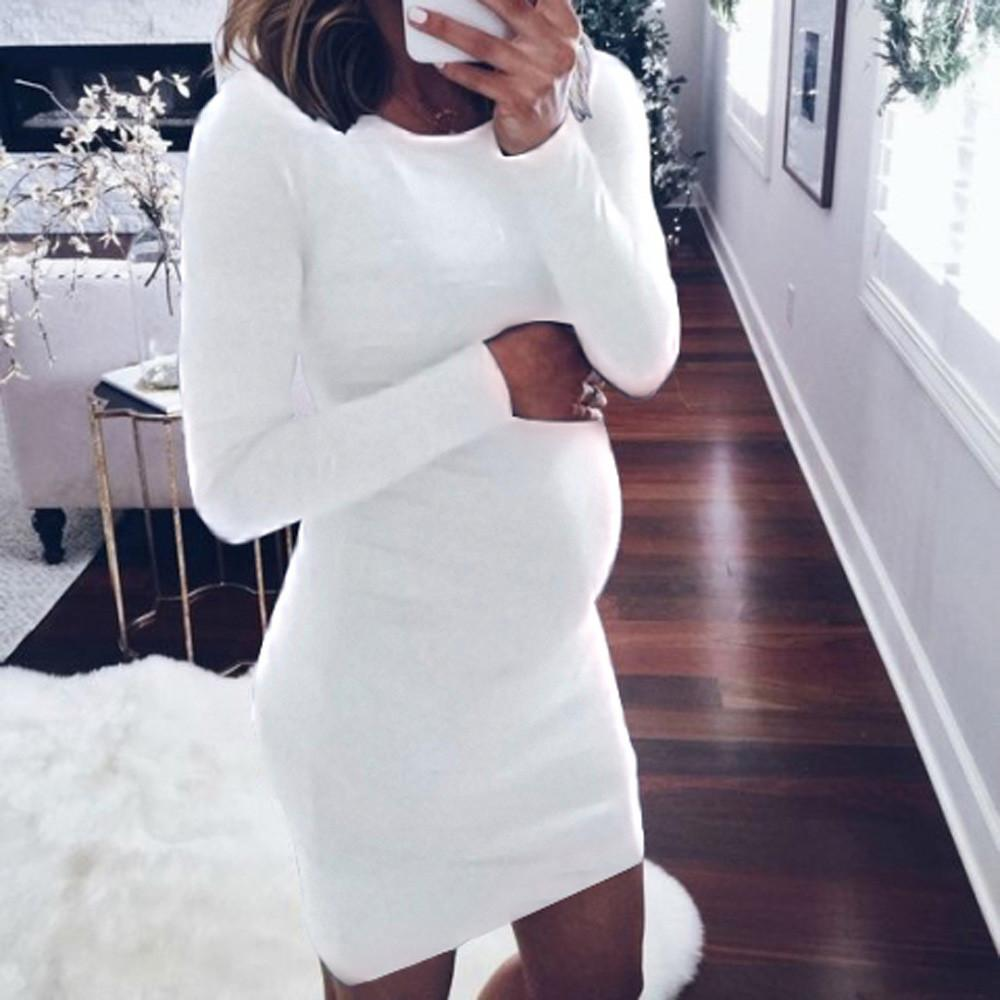 Fashion Women Pregnant O-Neck Long Sleeve Nursing Baby For Maternity Mini Dress - asheers4u