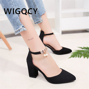 Square High Heels Pointed Sandals for Sexy Women - asheers4u