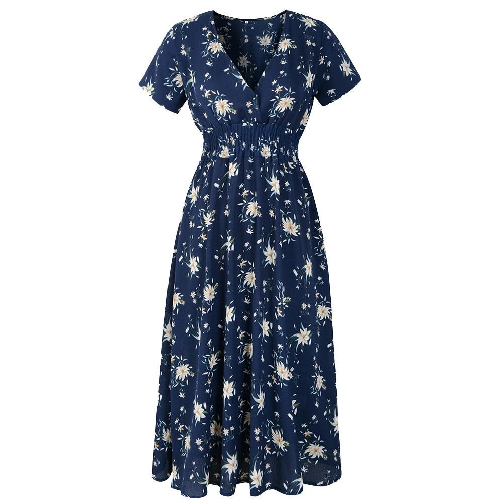 V Neck Holiday Floral Print Ladies Summer Beach Party Dress - asheers4u