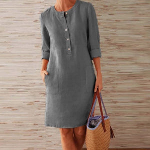 Linen Dress O-Neck Knee length Party Dress for Women Long Sleeve Pocket Solid Dresses Plus Size - asheers4u