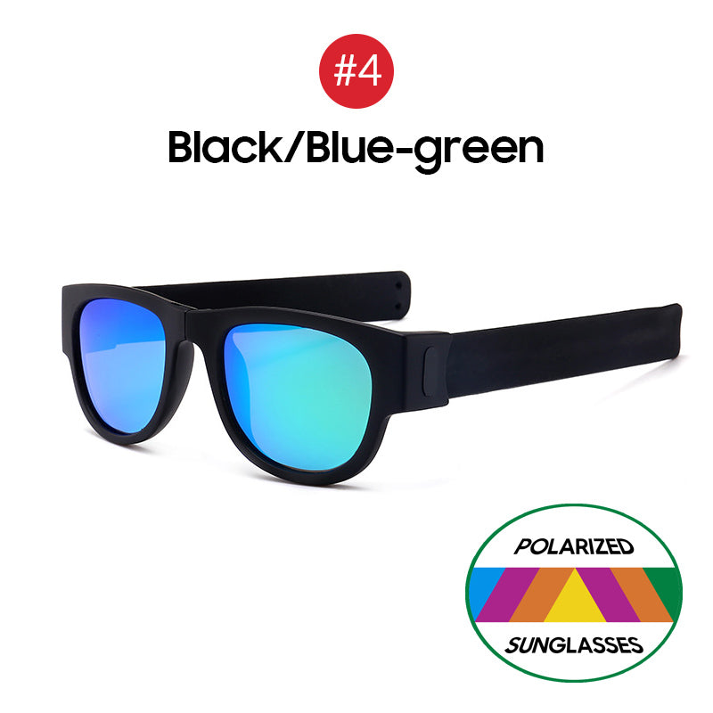 Polarized Folding Sunglasses Wristband Slap Shades - asheers4u