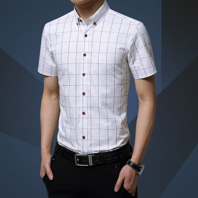 Men Shirt Men's Shorts Sleeve Slim Fit Checkered Dress Shirt - asheers4u