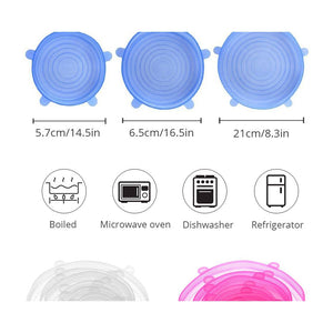 Silicone Stretch Lids For Keeping Food Fresh 6 Pcs Set - asheers4u