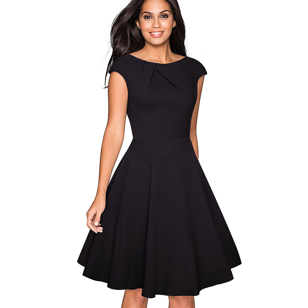 Vintage Elegant O-Neck Cap Sleeve A-Line Pinup Business Women Swing Dress - asheers4u