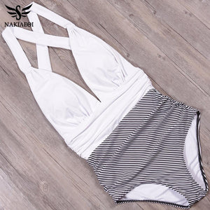 Women 1 Pc High Waist Backless Beach Swimwear - asheers4u