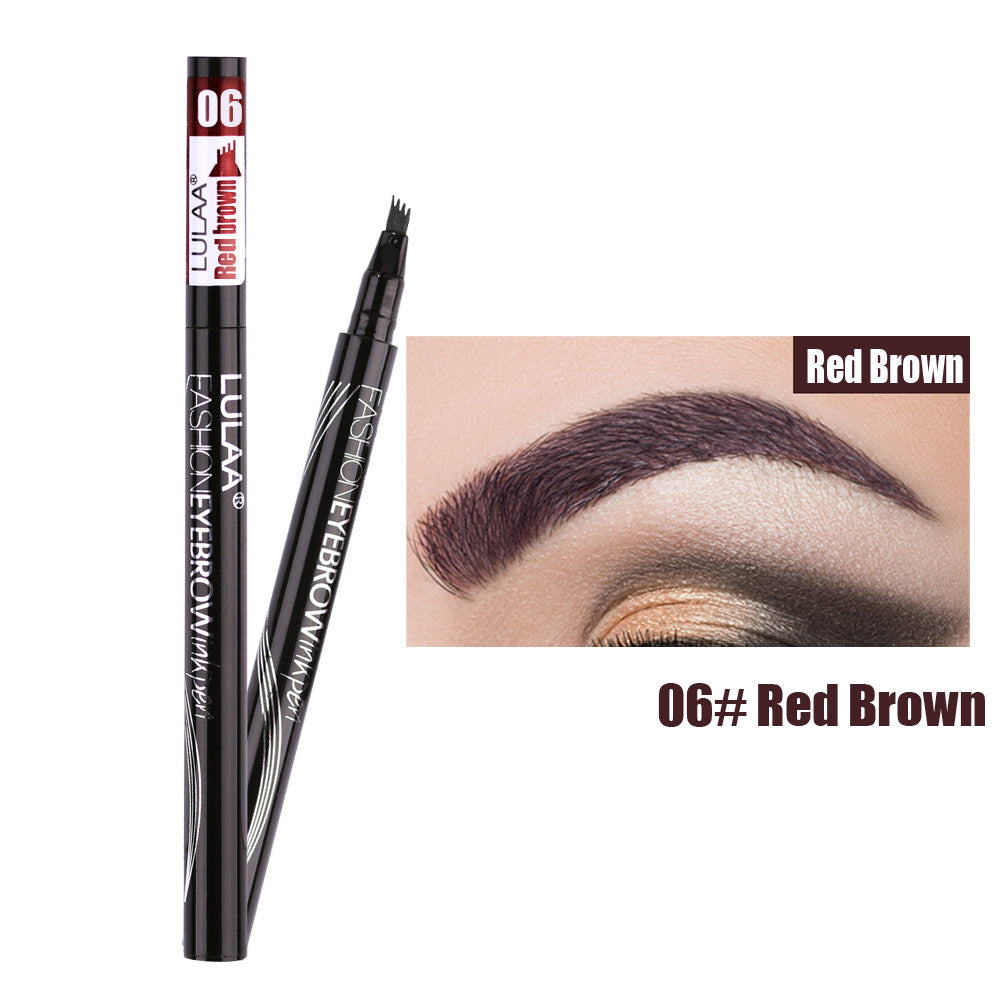 Waterproof Natural Eyebrow Pen Four-claw Eyebrow Pencil Brown Black Grey Brush Cosmetics - asheers4u