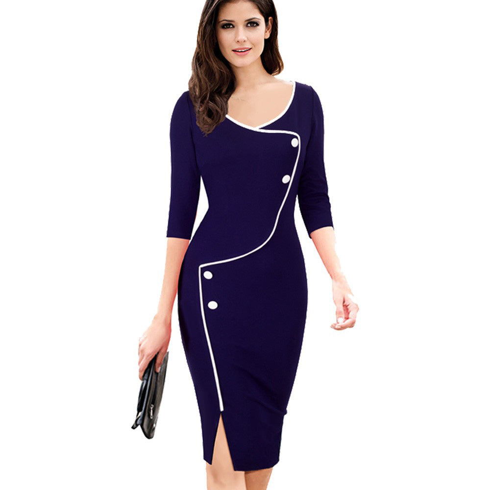 Split Bottom Elegant Deep O-Neck Office Pencil Women Office Dress - asheers4u