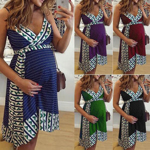 Pregnant Women Maternity Nursing Backless Party Dress - asheers4u