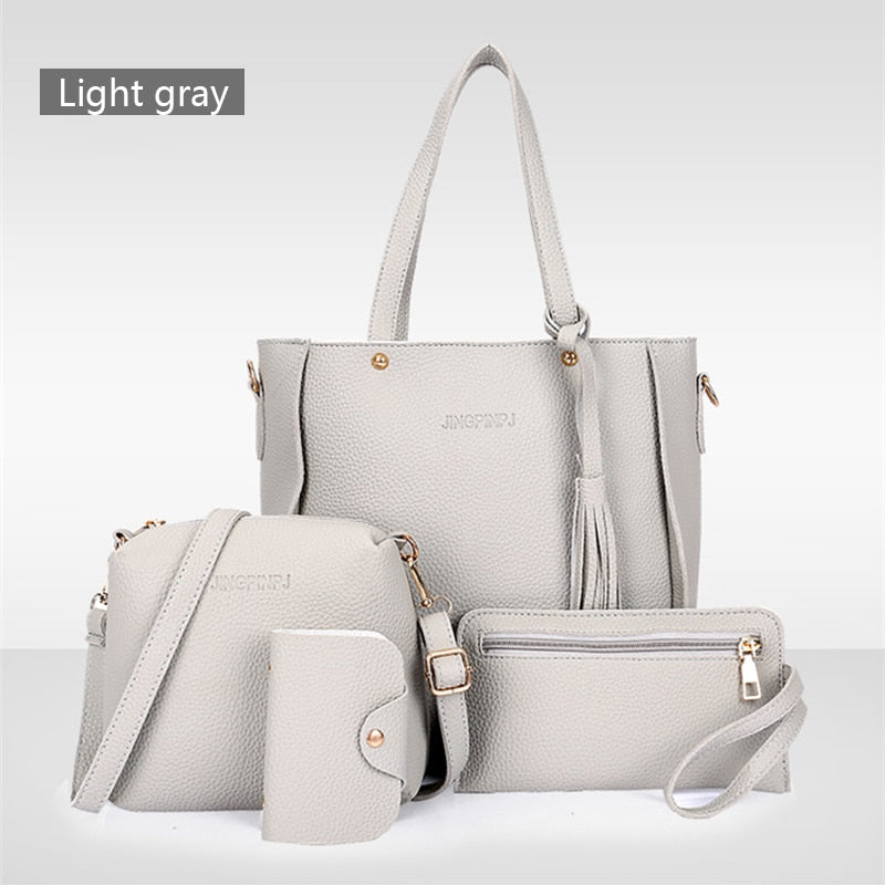 Women PU Leather Shoulder Bag 4PCS Handbag Set - asheers4u