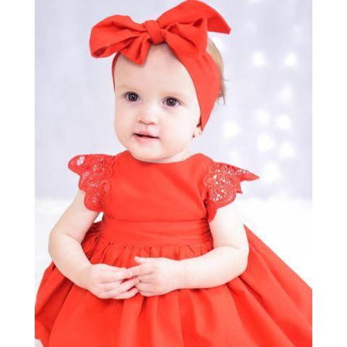 Red Lace Romper Baby Princess Dress - asheers4u