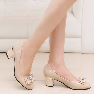 Bow knot Thick High Heels Fashion Party Wedge Women Shoes - asheers4u