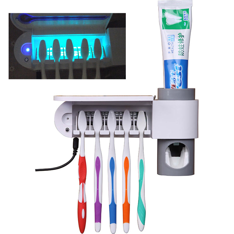 Automatic Toothpaste Toothbrush Holder Antibacterial 2 in 1 UV Sterilizer - asheers4u