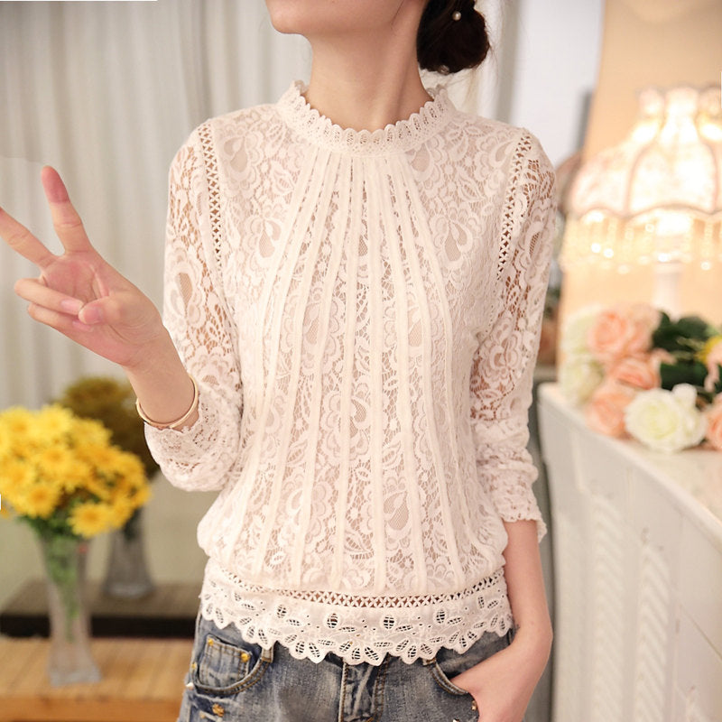 Long Sleeve Chiffon Lace Tops - asheers4u