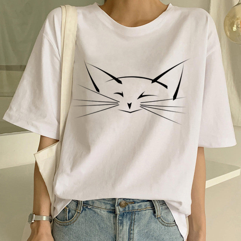 Women Casual Funny Cartoon Printed Cute Cat Lovers T Shirt Tops - asheers4u