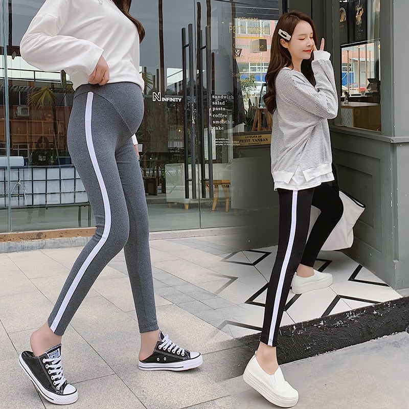 068# Spring Casual Maternity Legging Elastic Waist Belly Sports Legging Clothes for Pregnant Women Autumn Pregnancy Pencil Pants