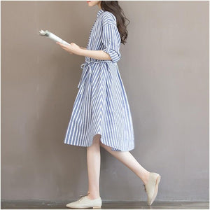 Striped Lining Dress for Pregnant Maternity Women for Breastfeeding Long Sleeve Clothes - asheers4u