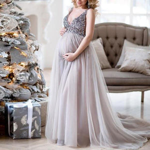 Sexy Women Pregnant Sling V Neck Sequin  Cocktail Long Maxi Prom Gown Dress - asheers4u