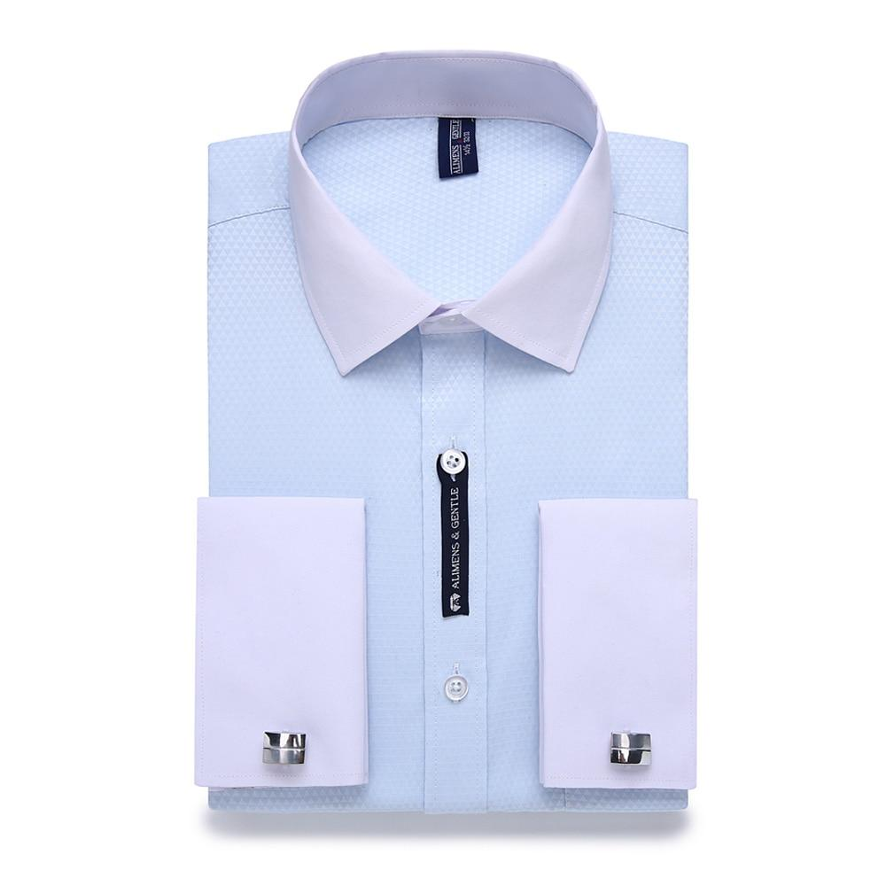 Striped Men French Cuff links White Collar Design Shirts (Plus Size 9XL 7XL 6XL Available) - asheers4u