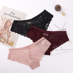 Premium Quality Sexy Lace Breathable Soft Panties 3 Pcs Set - asheers4u