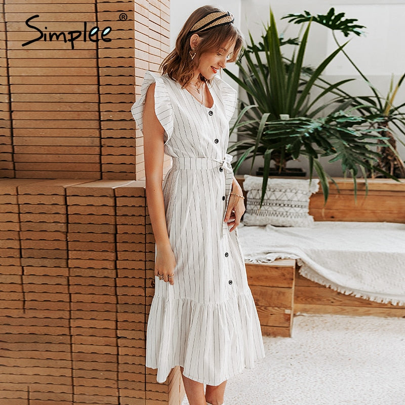 Classic v-neck striped women long dress - asheers4u
