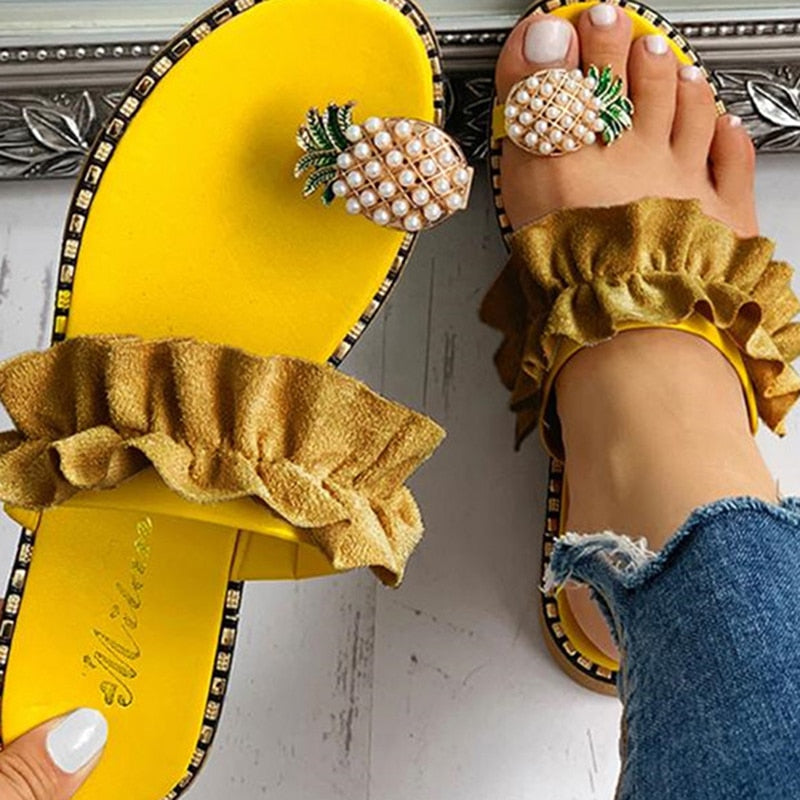 Casual Pineapple Flat Flip Flops Women Sandals - asheers4u