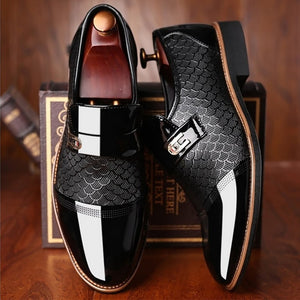 Luxury Men's Leather Embossing Classic Anti-slip Black shoes - asheers4u
