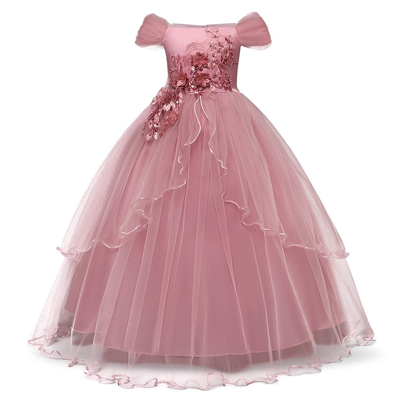 Princess Lace Embroidery Christmas Birthday Party Dress Flower Wedding Gown Formal Kids Dresses For Girls Teen Clothes 6 14 Yrs